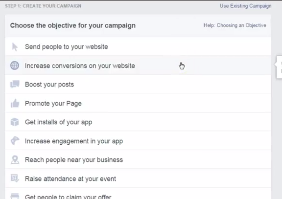 Facebook Ad Objective Screencast Shot
